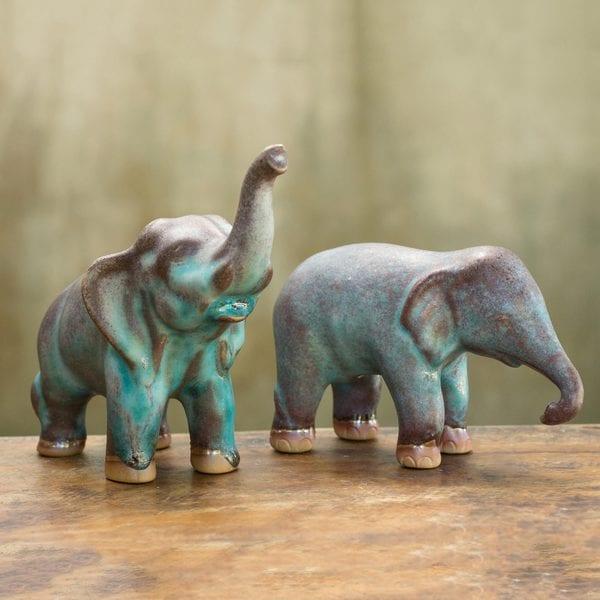 Shop set of 2 handmade ceramic thai greetings figurines thailand set of 2 handmade ceramic x27thai greetingsx27 figurines m4hsunfo