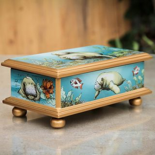 Handcrafted Reverse Painted Glass 'Manatee Family' Jewelry Box (Peru)