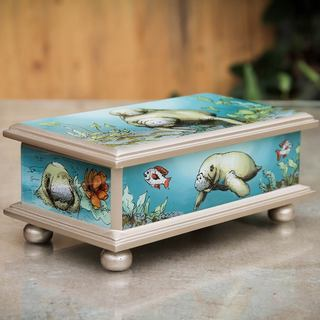Handcrafted Reverse Painted Glass 'Manatees' Jewelry Box (Peru)