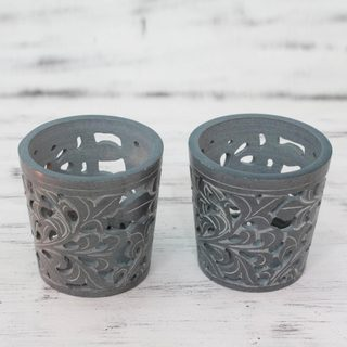 Set of 2 Handcrafted Soapstone 'Midnight Garden' Candleholders (India)