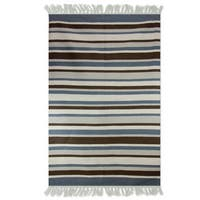 Handmade Wool 'Cool Horizon' Dhurrie Rug 4x6 (India) - 4' x 6'