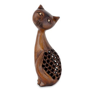 Handcrafted Wood 'Feline Mischief' Statuette (India)