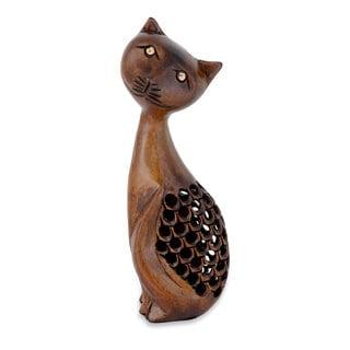 Handmade Wood 'Feline Mischief' Statuette (India)