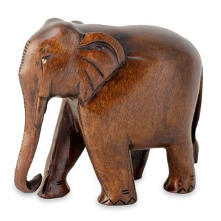 Handcrafted Kadam Wood 'Fabled Elephant' Statuette (India)