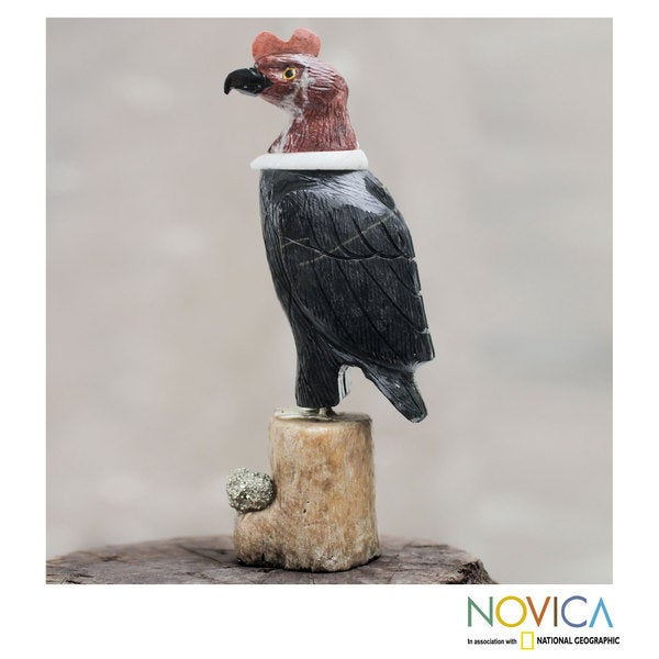 Handcrafted Multi-gemstone 'Andean Condor' Sculpture (Peru)