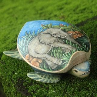 Crocodile Wood 'Turtle and Elephant' Jewelry Box (Indonesia)