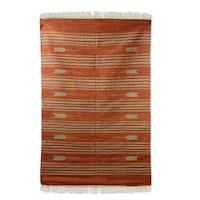 Handmade Wool 'Earthen Arrows' Rug 4x6 (India) - 4' x 6'
