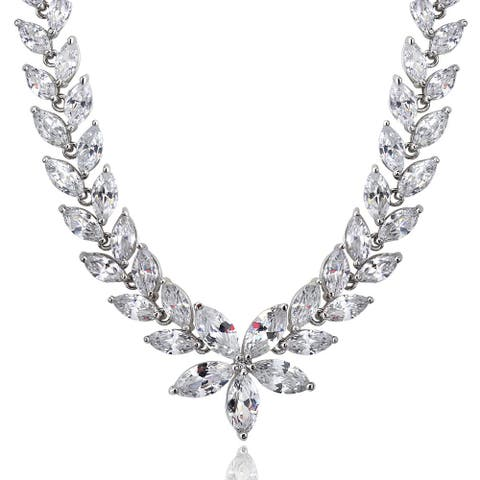 Icz Stonez Sterling Silver or 18k Gold Over Silver Cubic Zirconia Flower Estate Necklace