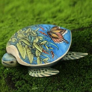 Handmade Crocodile Wood 'Butterfly Turtle' Jewelry Box (Indonesia)
