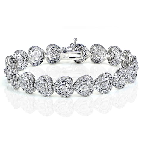 DB Designs 1ct TDW Diamond Miracle Set Heart Tennis Bracelet
