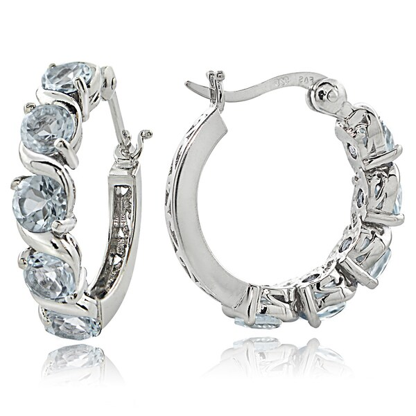 Glitzy Rocks Sterling Silver 2 50ct Tgw Aquamarine S Design Hoop Earrings