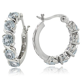 Glitzy Rocks Sterling Silver 2.50ct TGW Aquamarine S Design Hoop Earrings