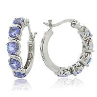 Glitzy Rocks Sterling Silver 2.75ct TGW Tanzanite S Design Hoop Earrings