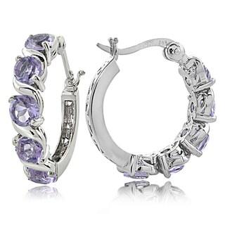 Glitzy Rocks Sterling Silver 2.50ct TGW Gemstones S Design Hoop Earrings