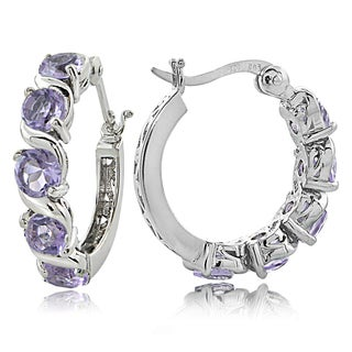 Glitzy Rocks Sterling Silver 2.50ct TGW Gemstones S Design Hoop Earrings (More options available)