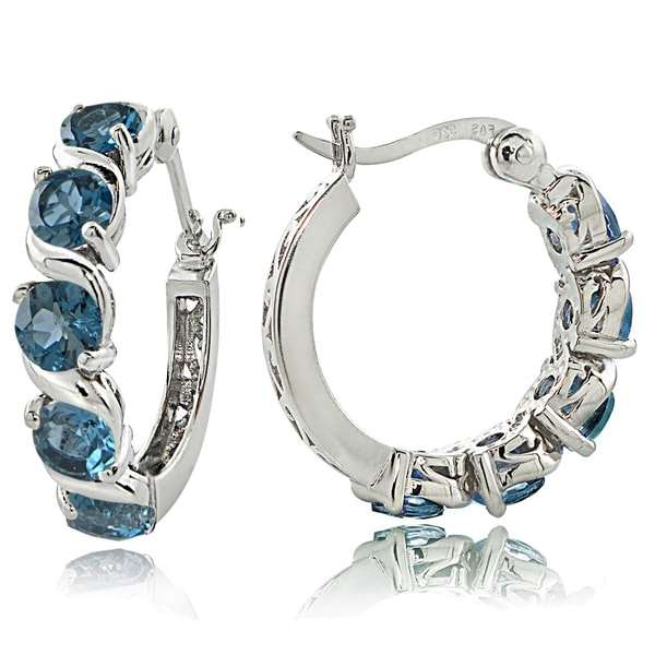 Glitzy Rocks Sterling Silver 2.75ct London Blue Topaz S Design Hoop Earrings