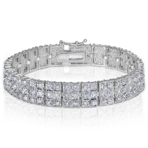 DB Designs Diamond 1ct TDW Miracle Set 3-Row Tennis Bracelet