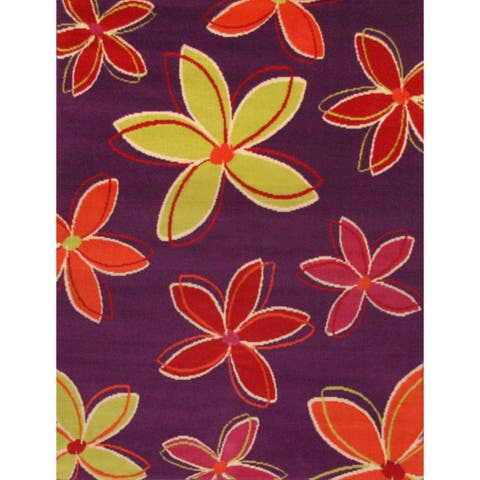 "Petals Purple/ Yellow/ Orange Olefin Area Rug by Greyson Living (3'9 x 5'6) - 3'9"" x 5'6"""