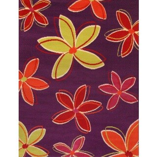 Petals Purple/ Yellow/ Orange Olefin Area Rug by Greyson Living (3'9 x 5'6)