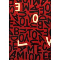 """Crush Red/ Black/ White Olefin Area Rug by Greyson Living - 3'9"""" x 5'6"""""""