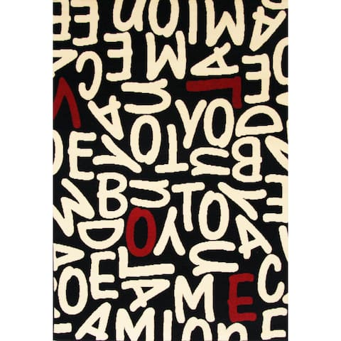 """Crush Black/ White/ Red Olefin Area Rug by Greyson Living - 3'9"""" x 5'6"""""""