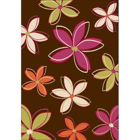 Petals Chocolate/ Pink/ Orange/ Green/ Ivory Olefin Area Rug by Greyson Living - 3'9 x 5'6