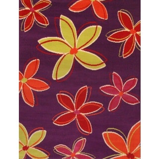Greyson Living Petals Purple/ Yellow/ Orange Olefin Area Rug (5'3 x 7'6)