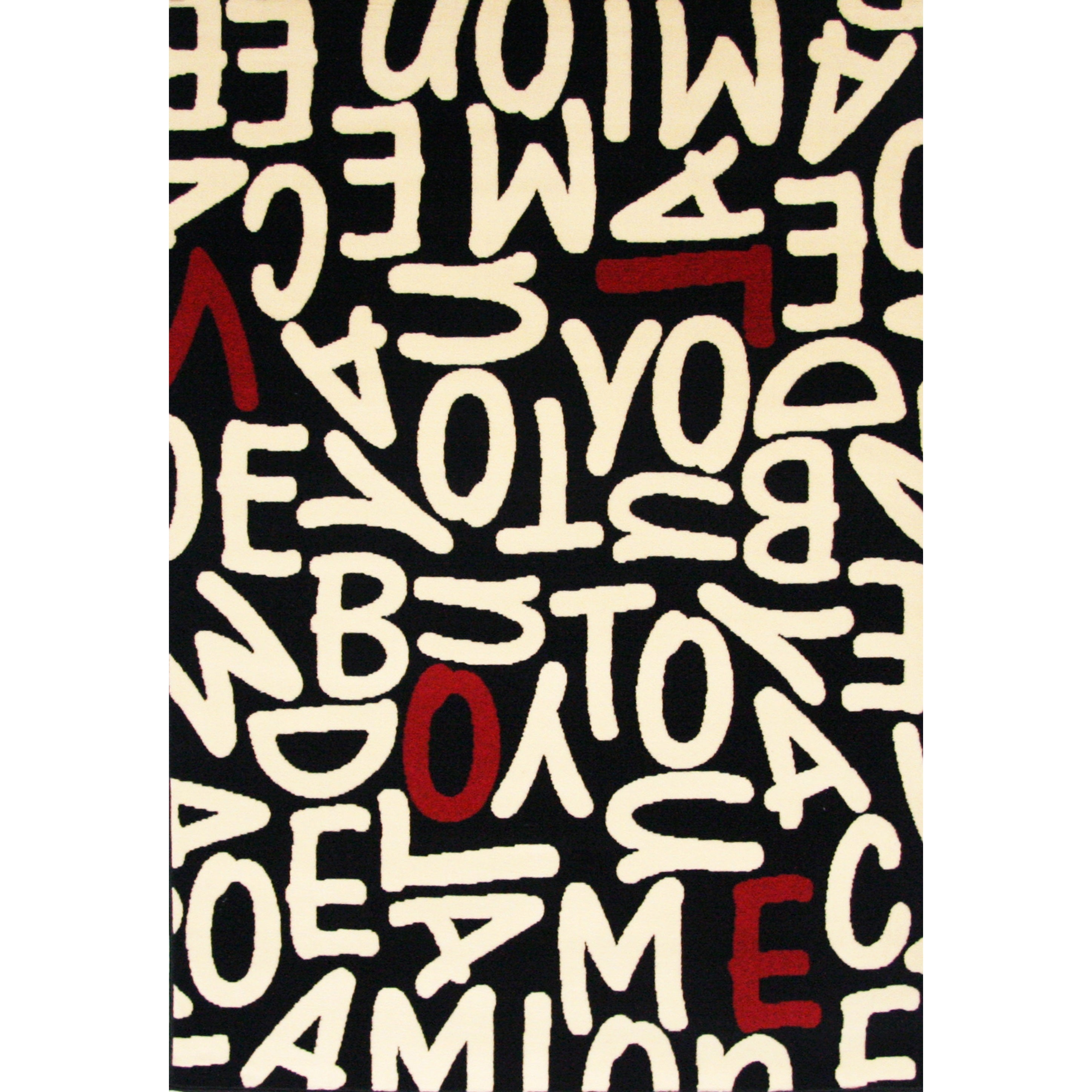 Crush Black/ White/ Red Olefin Area Rug by Greyson Living...