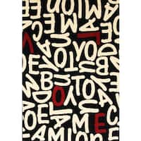 Crush Black/ White/ Red Olefin Area Rug by Greyson Living - 5'3 x 7'6