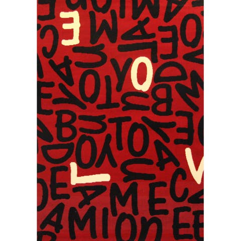 "Crush Red/ Black/ White Olefin Area Rug by Greyson Living - 5'3"" x 7'9"""
