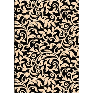 Greyson Living Jasmine Black and Ivory Floral Rectangle Olefin Area Rug (5'3 x 7'6)