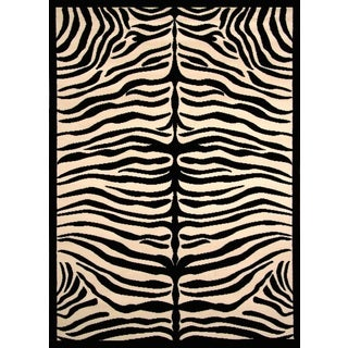 Zara Zebra Pattern Black/ Ivory Olefin Area Rug by Greyson Living (5'3 x 7'6)