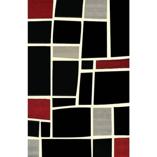 Greyson Living Mercury Black/ Creme/ Grey/ Red Olefin Area Rug (5'3 x 7'6)