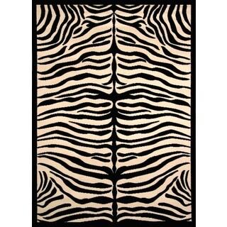 Greyson Living Zara Zebra Pattern Black/ Ivory Olefin Area Rug (7'10 x 10'6)