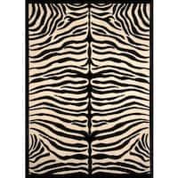 Greyson Living Zara Zebra Pattern Black/ Ivory Olefin Area Rug - 7'10 x 10'6