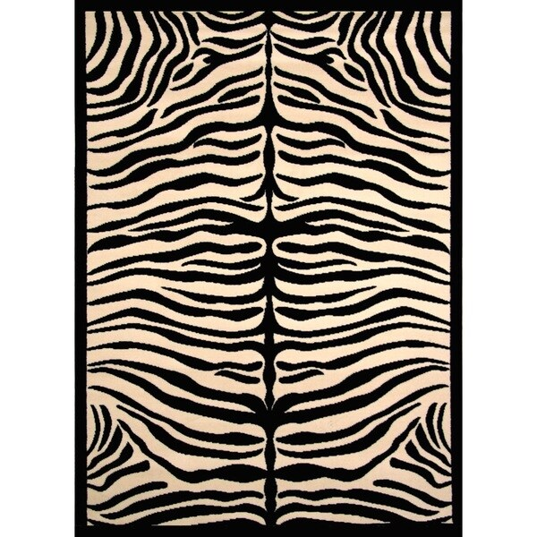 Shop Greyson Living Zara Zebra Pattern Black/ Ivory Olefin