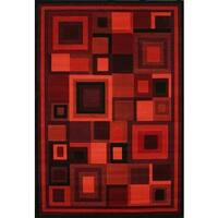 Neptune Red/ Burgandy/ Black Olefin Area Rug by Greyson Living