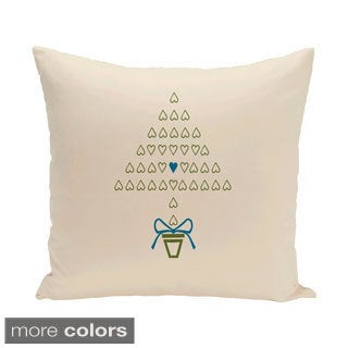 White Decorative Holiday Woven 18-inch Pillow