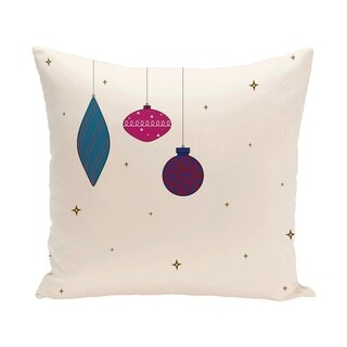 White Decorative Holiday Print 18-inch Pillow