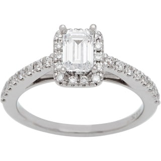 Boston Bay Diamonds 14k White Gold 4/5ct TDW Emerald-cut Center Diamond Engagement Ring (H-I, SI1-SI2)