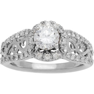 Boston Bay Diamonds 14k White Gold 1 1/4ct TDW Diamond Filigree Design Engagement Ring (G-H, SI1-SI2