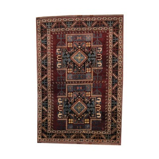 Herat Oriental Afghan Hand-knotted Tribal Kazak Wool Rug (6'7 x 9'7)