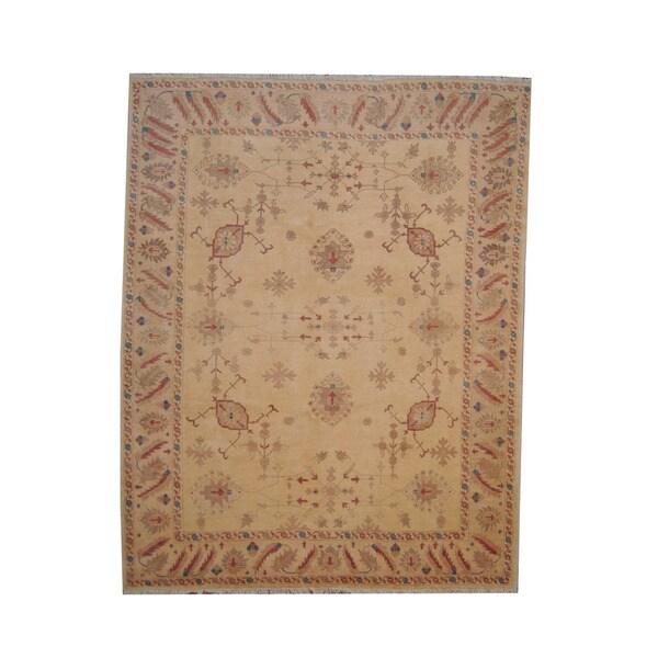 Herat Oriental Afghan Hand-knotted Vegetable Dye Oushak Wool Rug (8' x 10'1) - 8' x 10'1