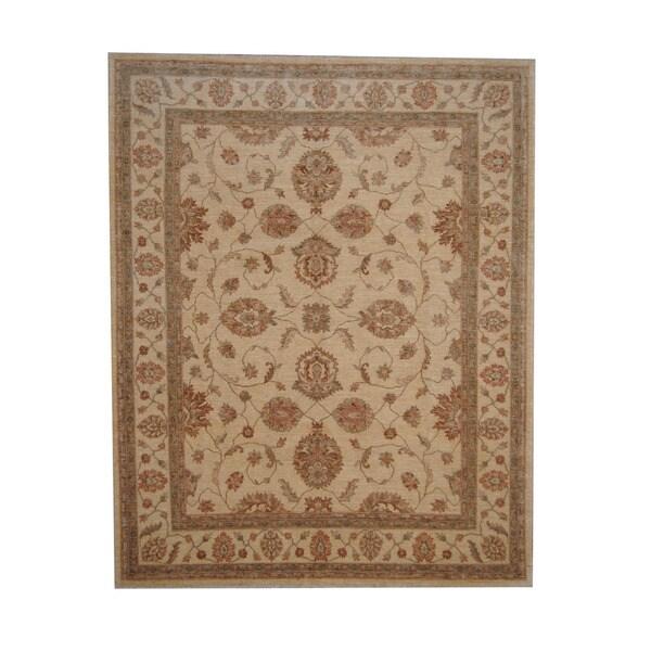 Herat Oriental Afghan Hand-knotted Vegetable Dye Oushak Wool Rug (7'9 x 9'8) - 7'9 x 9'8