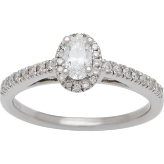 Boston Bay Diamonds 14k White Gold 1/2ct TDW Diamond Halo Engagement Ring (H-I, SI2-I1)