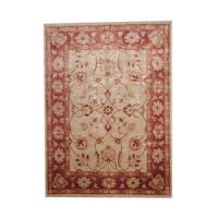 Herat Oriental Afghan Hand-knotted Vegetable Dye Oushak Wool Rug (7'5 x 10'2) - 7'5 x 10'2