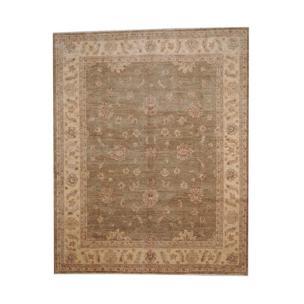 Herat Oriental Afghan Hand-knotted Vegetable Dye Oushak Wool Rug (7'9 x 9'9) - 7'9 x 9'9