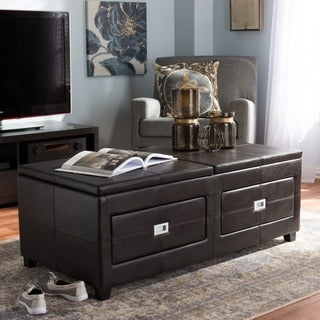 Baxton Studio Nolan Contemporary Brown Leather Storage Coffee Table