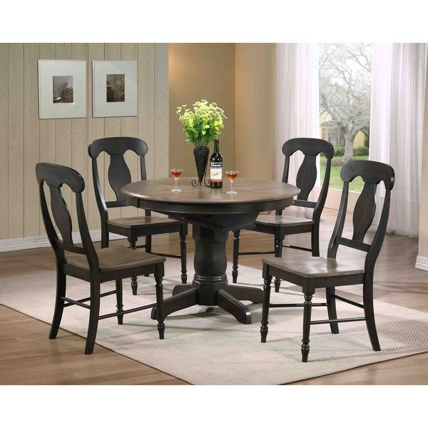 shop iconic furniture company 5 piece antique grey napoleon round dining set free shipping. Black Bedroom Furniture Sets. Home Design Ideas