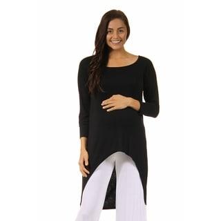 24/7 Comfort Apparel High-Low Maternity Tunic Top